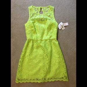 Lime green lace overlay dress